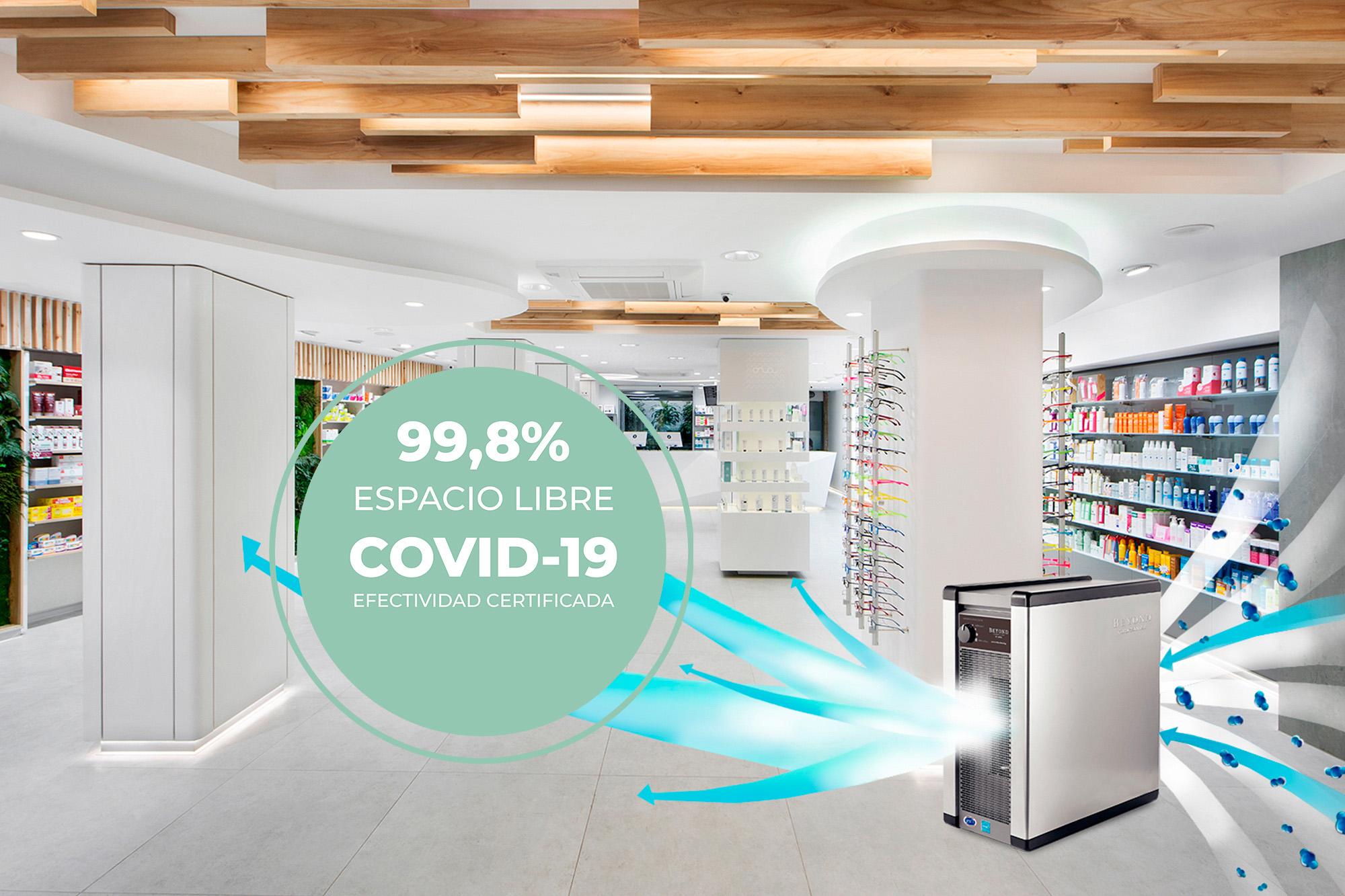 99,8% Espacio libre COVID-19 eficacia certificada